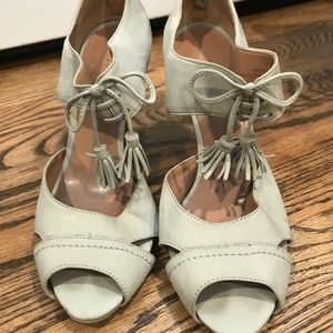 Talbots mint green tassle lace up heels Sz7